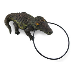 Zeckos - Lifelike Alligator Towel Ring Wall Mounted Towel Holder - Drying your hands may never have seemed such a risky task as it is when your towel is hanging from this holder This lifelike alligator has seemingly clamped his teeth down onto a metal ring that serves as a towel holder, and with two keyhole hangers on the back, he'll add a snappy accent on your wall, too Perfect for the bathroom, dining room or garage entryway to wipe off excess dirt and grime before entering the house, this 15 inch (38 cm) long, 9 inch (23 cm) wide, 5.5 inch (14 cm) deep alligator boasts an expertly hand-painted finish that just might make you do a double take It's an amazing gift for a gator loving friend, or just a fun and unique decoration for your home