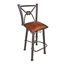 """New World Trading - Western Iron Barstool (Set of 2) - Features: -Color: Antique Brown. -Material: Wrought iron. -Back with swivel. -Hand tooled leather. -Nailheads. -Made by artisans. -Saddle leather. -Made 1 at a time. -Original designs. -Reviving an ancient art. Specifications: -Bar H: 42"""". -Counter H: 38""""."""