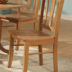 East West Furniture - Dublin Chair w Wooden Seat in Oak Finish - Se - Set of 2. Traditional style. Vertical slat back. Slight curve with wide inner slat for added support. Made from rubber solid wood. Assembly required. 17 in. W x 16.5 in. D x 36 in. H (32 lbs.)
