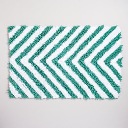Chevron Chenille Bath Mat - Add new bathroom rugs to your summer rental. White rugs are great, but I love this fun chevron rug too.