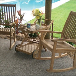 Royal Teak - Royal Teak Comfort Rocker Chat Set Multicolor - P45CR - Shop for Tables and Chairs Sets from Hayneedle.com! The Royal Teak Comfort Rocker Chat Set makes a simple and low-profile way to enrich your patio garden or poolside area with modern style. Crafted from premium-grade teak wood this handsome patio chat set blends clean lines with a minimal elegance that effortlessly graces any outdoor space with a tasteful blend of modern and classic design. Teak wood boasts a high oil content that makes it naturally weather-resilient and low-maintenance ensuring a lifetime of adorning your home with style. Each chair is crafted with durable mortise and tenon joinery to ensure a long healthy life of comfortable use.Great for any space large or small these two rockers offer unmatched comfort for anyone looking to soak up the summer sun. Keep your favorite book magazine or beverage within arm's reach with the handy teak tray cart.About TeakTeak wood is universally recognized for its quality durability and beauty. Teak is a very hard densely grained wood with high oil content. The unique combination of these characteristics makes teak naturally resistant to moisture rot warping shrinking splintering insects and fungus. It is considered the ideal wood for outdoor furniture. If left untreated teak weathers naturally to a beautiful silver gray color. The weathering process will change the color but the grain will still be smooth. There will be no splitting or splintering. You may treat each piece of your set with teak oil if you wish to retain the original wood color.