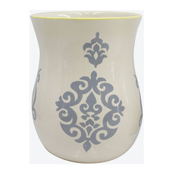 Bardwil Home - Luminary Wastebasket - Create a stately steam room around your sink with the elegant fleur design of this regal wastebasket.   10'' H x 8'' diameter Ceramic Imported