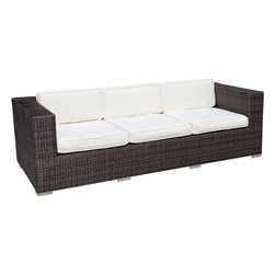 East End Imports - Outdoor Wicker Patio Sofa Brown/White - Conduct yourself with an air of freshness in this satisfying outdoor rattan sofa. Rejuvenate a restful repose with success and integrity as you position yourself amidst a quick, light modern design. Embark on your most important dynamics as you increase proximity to all things great.