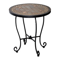 Alfresco Home - Alfresco Home Dublin Outdoor Side Table - 28-1132 - Shop for Tables from Hayneedle.com! The Alfresco Home Dublin Outdoor Side Table is more than just a handy patio table (although it s that too) - it s a great way to bring antique-inspired charm right to your outdoor living space. And with such a simple design you re going to find oodles of uses for this table whether as a spot for your sunglasses and favorite summer drink or a perch for your favorite potted plant.The tabletop instantly draws the eye with its rust beige and copper ceramic tiles arranged in an elegant mosaic pattern. Plus the slender iron legs taper into a savvy scroll shape and they re finished in a weather-resistant charcoal-colored paint. And because these side tables are hand-made no two are exactly alike. Place indoors or out.About Alfresco HomeOffering a wide selection of fashionable products from casual furniture and garden lighting to permanent botanicals and seasonal decor Alfresco Home casual living products offer a complete line of interior and exterior living furnishings and accents. Based out of King of Prussia Penn. Alfresco Home continues to blend indoor and outdoor furniture to create a lifestyle of alfresco living inside and outside of the home. Inlaid mosaic tabletops fine hardwood furnishings artisan-inspired accents premium silk botanicals and all-weather wicker sets are just a few examples of the kind of treasures you'll find in Alfresco's specially designed collections.