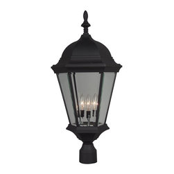 Exteriors - Exteriors Cast Aluminum Straight Glass Outdoor Post Lantern Light X-50-555Z - This Craftmade outdoor post lantern light is ideal for any traditional outdoor lighting scheme thanks to its tapered lantern body, candelabra lights and other traditional inspired details. The cast aluminum frame is available in a charming Matte Black finish that pairs beautifully with the classically styled clear beveled glass panels.
