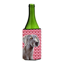 Caroline's Treasures - Weimaraner Hearts Love and Valentine's Day Portrait Wine Bottle Koozie Hugger - Weimaraner Hearts Love and Valentine's Day Portrait Wine Bottle Koozie Hugger Fits 750 ml. wine or other beverage bottles. Fits 24 oz. cans or pint bottles. Great collapsible koozie for large cans of beer, Energy Drinks or large Iced Tea beverages. Great to keep track of your beverage and add a bit of flair to a gathering. Wash the hugger in your washing machine. Design will not come off.