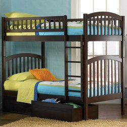 Atlantic Furniture - Richmond Twin Over Twi Bunk Bed w Flat Panel - NOTE: ivgStores DOES NOT offer assembly on loft beds or bunk beds. Includes upper and lower panels, long guard rails, clip-on ladder, 2 slats and flat panel underbed drawers. Mattress not included. Solid hardwood Mortise & Tenon construction. 26-Steel reinforcement points. Designed for durability. Guard rails match panel design. Made of premium, eco-friendly hardwood with a 5-step finishing process. Meet or exceed all ASTM bunk bed standards, which require the upper bunk to support 400 lbs.. Pictured in Antique Walnut finish. 1-Year manufacturer's warranty. Clearance from floor without trundle or storage drawers: 11.25 in.. 78.88 in. L x 42.63 in. W x 69.25 in. H. Flat panel drawers: 74 in. L x 22 in. W x 12 in. H. Bunk Bed Warning. Please read before purchaseArch and slat design compliments the clean lines and the high build finishes is beautiful and durable.