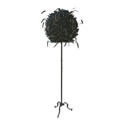 EcoFirstArt - LAMPE BOULE A POSER - Like the black swan of all floor lamps, this piece brings drama and high fashion to light. It features a fabulous shade that comes to life with stunning black goose feathers and a slim black body with ornate cabriole legs. It's one lamp that's ready for the catwalk or a special place in your home.