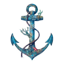 Terry Fan - Terry Fan Lost At Sea Wall Decal - A treasure in Ariel's trove, or belonging to a long-lost pirate vessel, Terry Fan's beautiful imagining of a coral-covered anchor would brighten any seascape or nautical-themed room.