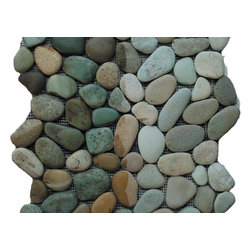 Pebble Stone Mosaic, Taipei Green - Sold by the box