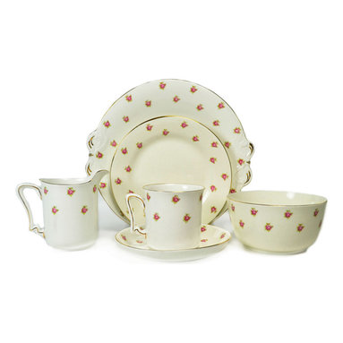 Lavish Shoestring - Consigned 6 Placements Rose Tea Set with 2 Cake Plates, Vintage English - This is a vintage one-of-a-kind item.