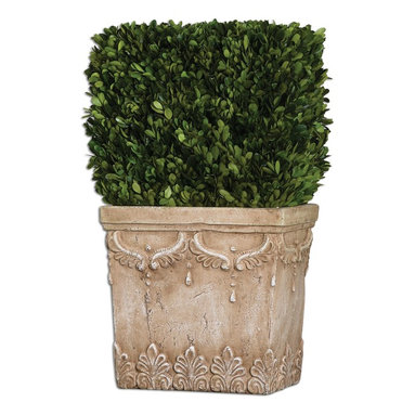 Uttermost - Uttermost Boxwood Hedge Planter 60110 - Preserved, natural evergreen foliage potted in a stone finished, ceramic planter.