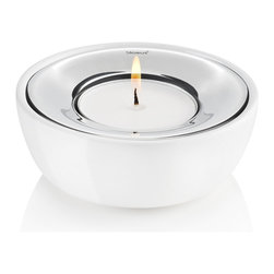 Blomus - Fuoco Tealight Holder, White - This porcelain tealight holder by Blomus has a rim of polished stainless steel to reflect light beautifully.