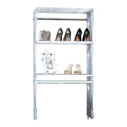 KiO - KIO 2' Closet & Shelving System, Frost by KIO (Keep It Organized) - KiO's Closet in a Box is the organizer's favorite shelving system for easy to install, incredible strength and revolutionary design. The KiO kit requires no cutting tools, includes adjustable hanging rods and can be installed in as little as 10 minutes. Add extra shelves to your kit with the purchase of KiO 2-pack Shelf Bundle.