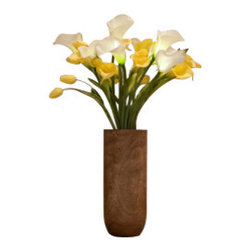 """The Firefly Garden - Buttercup - Illuminated Floral Design, Yellow and White, Mango Wood Vase - Buttercup is inspired by the classic 60's tune """"Build Me Up, Buttercup. This simple yet classic contemporary arrangement features illuminated and real touch calla lilies and tulips. The yellow and white color scheme wonderfully compliments a chic loft, home, or business."""