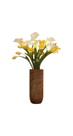 "The Firefly Garden - Buttercup - Illuminated Floral Design, Yellow and White, Mango Wood Vase - Buttercup is inspired by the classic 60's tune ""Build Me Up, Buttercup. This simple yet classic contemporary arrangement features illuminated and real touch calla lilies and tulips. The yellow and white color scheme wonderfully compliments a chic loft, home, or business."