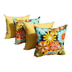 Land of Pillows - Esbo Amazon and Sundeck Yellow Outdoor Decorative Throw Pillows - Set of 4, 20x2 - Fabric Designer - Premium Home Decor