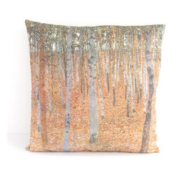 Poetic Pillow - Gustav Klimt Beech Grove Pillow - Transform any space with a pillow from Poetic Pillow. Each pillow is inspired by fine works of art and printed on the front and back.   Covers are made of pre-shrunk satin-like polyester fabric. All seams are finished to prevent fraying and pillow covers have a knife edge finish.. A concealed zipper allows for ease of inputting pillow inserts.  A duck feather insert is included for soft yet supportive feel.  Cushion inserts are encased in a cotton cover and filled with 100% duck feather.  All research, design and packaging is completed in Oakland, California.