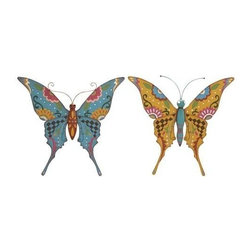 """Benzara - Butterfly Assorted with Bright Colors - Set of 2 - Butterfly Assorted with Bright Colors - Set of 2. If you are looking to introduce vibrancy to your home decor, then bring home this Set of 2 butterflies and grace your outdoor with life and positivity. It comes with a following dimensions 20""""W x 2""""D x 18""""H. 20""""W x 2""""D x 18""""H."""