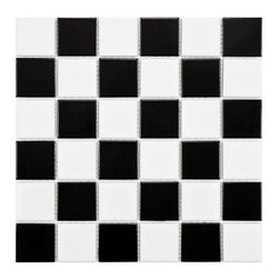 Merola Tile Boreal Quad Checker Black and White Porcelain Mosaic Floor Tile - I like this black and white checkerboard look for a vintage country farmhouse kitchen floor. It reminds me of yesteryear.