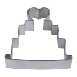 RM - Wedding Cake 4 In.  Tall B1146X - Wedding Cake cookie cutter, made of sturdy tin, Size 4 in., Depth 7/8 in., Color silver