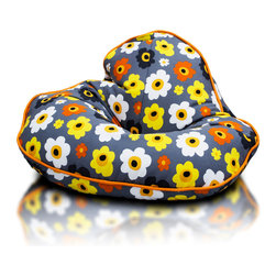Turbo BeanBags - Beanbag Frog Premium, Cotton 3 And Orange, Filled Bag - The Frog Beanbag from Turbo BeanBags is a super footstool for people who like to sit comfortably but relatively low.
