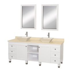 """Wyndham Collection - Wyndham Collection 72"""" Premiere White Double Sink Vanity w/ Ivory Marble Top - A bridge between traditional and modern design, and part of the Wyndham Collection Designer Series by Christopher Grubb, the Premiere Single Vanity is at home in almost every bathroom decor, blending the simple lines of modern design like vessel sinks and brushed chrome hardware with transitional elements like shaker doors, resulting in a timeless piece of bathroom furniture."""