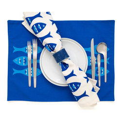 Blue Fish Modern Eco Coastal Placemats - Our Blue Fish modern placemats in deep sapphire on cream add coastal flair to any tabletop. Perfect for entertaining or just everyday use! The eco friendly placemats coordinate with our Blue Fish napkins and table runner. The coastal placemats also make unique seaside inspired gifts for beach lovers. Designed, hand printed, and fabricated in America.