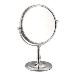 Nameek's - Double Sided 3x Makeup Mirror - Makeup mirror featuring 3x magnification and a round profile. Free standing double faced mirror made of stainless steel and available in 3 finishes: chrome, satin nickel, and gold. 8 Inch Table Round Mirror. Double Face Makeup Mirror. 3x Magnification. Made from stainless steel. Contemporary style makeup mirror. Italian Design.