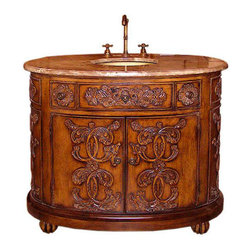 Legion Furniture 42 Inch Brown Marble Sink Chest Vanity - Legion Furniture 42 Inch Brown Marble Sink Chest Vanity is an impressive antique walnut finished cabinet with a strong presence in any bathroom space. The antique brass sink within a brown marble bath vanity surface tops the two door cabinet base with intricate details and claw feet.