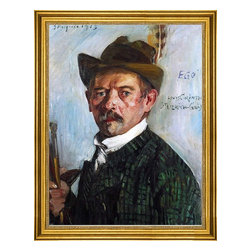 """Lovis Corinth-18""""x24"""" Framed Canvas - 18"""" x 24"""" Lovis Corinth Self Portrait in a Tyrolean Hat framed premium canvas print reproduced to meet museum quality standards. Our museum quality canvas prints are produced using high-precision print technology for a more accurate reproduction printed on high quality canvas with fade-resistant, archival inks. Our progressive business model allows us to offer works of art to you at the best wholesale pricing, significantly less than art gallery prices, affordable to all. This artwork is hand stretched onto wooden stretcher bars, then mounted into our 3"""" wide gold finish frame with black panel by one of our expert framers. Our framed canvas print comes with hardware, ready to hang on your wall.  We present a comprehensive collection of exceptional canvas art reproductions by Lovis Corinth."""