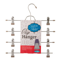 Enchante Accessories Inc - Space Saving 4 Tier Clip Hanger, Grey - Organize your closet in style with this 4 tier metal skirt hanger. This hanger is made out of very strong metal, strong enough to hang heavy garments. Each hanger features a flat, space-saving body, and 4 tiers of clips for skirts or other garments.