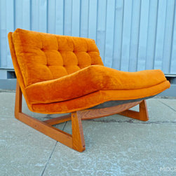 Mid Century Mobler: Past Collections - Mid century tangerine velour lounge in the manner of Adrian Pearsall for Craft Associates.