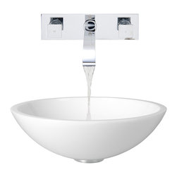 Vigo Industries - 16.5 in. Dia. Phoenix Stone Vessel Sink with Faucet - The VIGO Flat Edged Phoenix Stone Vessel Sink with Chrome Wall Mount Faucet will bring a simplistic design to your bathroom. Phoenix Stone is a revolutionary new blend of crystallized glass and stone resulting in a highly durable complex material.
