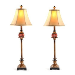 Ruby Red Buffet Lamp, Set of 2 - Create drama in the dining room with a pair of Ruby Red buffet lamps.  Sold in pairs, use these lamps atop your dining room sideboard or on a dresser in a bedroom.  The beautiful ruby glass accent will draw the eye and captivate.