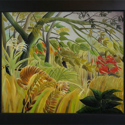 overstockArt.com - Rousseau - Surprise Oil Painting - Enjoy Henri Rousseau's beautiful display of naive jungle themes, Surprise. Today it has been hand painted on canvas, color for color and detail for detail. Henri Julien Felix Rousseau was a French Post-Impressionist painter. Also known as Le Douanier (the customs officer), he was a tax collector. Ridiculed during his life, he came to be recognized as a self-taught genius.