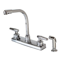 Hardware House - Plumbing - 12-1927 Chrome Kit Faucet with Spray - 2-Handle Hi-Rise Kitchen Faucet with Spray