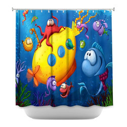 DiaNoche Designs - Shower Curtain Artistic - Sea Life - DiaNoche Designs works with artists from around the world to bring unique, artistic products to decorate all aspects of your home.  Our designer Shower Curtains will be the talk of every guest to visit your bathroom!  Our Shower Curtains have Sewn reinforced holes for curtain rings, Shower Curtain Rings Not Included.  Dye Sublimation printing adheres the ink to the material for long life and durability. Machine Wash upon arrival for maximum softness. Made in USA.  Shower Curtain Rings Not Included.