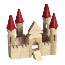 Guidecraft - Guidecraft Hardwood Table Top Castle Blocks - Guidecraft - Wooden Play Sets - G6103 - Rebuild great structures from ancient history or challenge your kids to create new Architectural works of art. Alone or in conjunction with the Table Top Building Blocks Set build structures in an Castle style. This 40 piece hardwood set Several different shapes for building Fun. Limited only by the imagination you can create your own landmarks using unique shapes or build designs that are included. Clean-up and storage is a breeze with the clear plastic bucket and lid with handles.