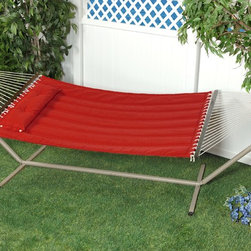 """Bliss Hammock Quilted Hammock with Polyester Pillow with """"S"""" Stitch - Dimension: 80""""L X 55""""W"""
