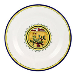 Artistica - Hand Made in Italy - PALIO DI SIENA: BRUCO (Caterpillar) Dinner Plate - The ''Palio di Siena'' is a tournament as a replica of a medieval horse race which is ran twice year, during the summer season, in the city of Siena, located in the beautiful Tuscany region.