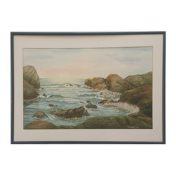 "Wave Spray - Consigned Vintage Artwork - Watercolor and gouache seascape vintage painting with lovely colors.  Signed and dated ""Steinen '91"" lower right. Displayed in a paper mat and blue metal frame."
