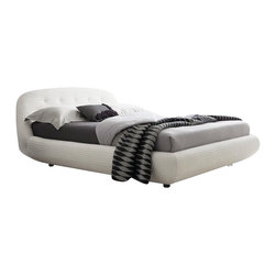 Rossetto - Rossetto Eclipse Leather Effect Platform Bed in White-Queen - Rossetto - Beds - T286611345N01 - Characterized by delicate stitching the Eclipse bed tells a contemporary style.