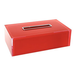 Gedy - Thermoplastic Resin Rectangular Tissue Box Cover, Red - Just the tissue box holder for a more modern bathroom - start with this tissue box cover.