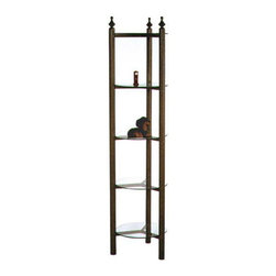 "Grace Manufacturing - 15 Inch Round Curio with 5 Glass Shelves, Deep Bronze - This 5 shelf curio is perfect for displaying small decorative accessories. The 15"" round tempered glass shelves provide adequate display space, yet the rack itself takes up very little floor space. This fixture fits compactly into a corner or could be placed out in the open for 360 degree viewing. The simplicity of the design makes for easy integration into any design decor. Customized with your choice of any of our stock metal finishes, this piece will add a unique touch to your display area."
