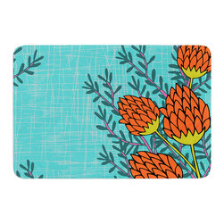 """KESS InHouse - Nandita Singh """"Red Flowers"""" Blue Orange Memory Foam Bath Mat (17"""" x 24"""") - These super absorbent bath mats will add comfort and style to your bathroom. These memory foam mats will feel like you are in a spa every time you step out of the shower. Available in two sizes, 17"""" x 24"""" and 24"""" x 36"""", with a .5"""" thickness and non skid backing, these will fit every style of bathroom. Add comfort like never before in front of your vanity, sink, bathtub, shower or even laundry room. Machine wash cold, gentle cycle, tumble dry low or lay flat to dry. Printed on single side."""