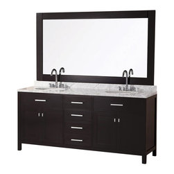 "DESIGN ELEMENT - London 72"" Double Sink Vanity Sets, Espresso - The 72"" London double-sink vanity in espresso is elegantly constructed of quality woods. The classic beauty of the white Carrara marble countertop and the contemporary style of the espresso cabinetry bring a crisp clean look to any bathroom. Seated at the base of the two ceramic sinks are chrome finish pop-up drains, designed for easy one-touch draining. A large espresso framed mirror is included. This beautiful vanity has ample storage, which includes two large pull-down shelves, four pullout drawers, and two soft-closing double-door cabinets, all accented with satin nickel hardware."