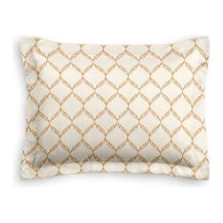 Beige Embroidered Trellis Custom Sham - The Simple Sham may be basic, but it won't be boring!  Layer these luxurious reversible shams in various styles for a bed you'll want to fall right into. We love it in this beige trellis crewel embroidered on cream cotton for a look that's classic with a touch of casual.