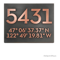 "Latitude Longitude Address Number Plaques 14"" x 11"" in Copper Patina - Unique way to present your location using latitude and longitude. This is really cool! Almost like a code to break. The Latitude Longitude Address Number Plaque places your home in its one and only geographical location regardless of address. Neutraface Font."