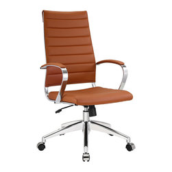 Modway Furniture - Modway Jive Highback Office Chair in Terracotta - Highback Office Chair in Terracotta belongs to Jive Collection by Modway Steer the course and sail to an island called style. Jive is the result of chair makers who decided to design a chair that just works. Functionally, it is a pleasure to sit in as the durable ribbed vinyl back provides natural posture support. The seat cushion and arms are padded, while the form of the armrests were intended maximize a 90 degree wrist angling for typing. Jive's chrome-plated aluminum base is fitted with five dual-wheel casters, while a tension knob and tilt lock allow for easy back position adjustments. This is a chair made for the modern office, and a welcome embodiment of the spirit of progress and determination. Set Includes: One - Jive Ribbed High Back Executive Office Chair in Vinyl Office Chair (1)